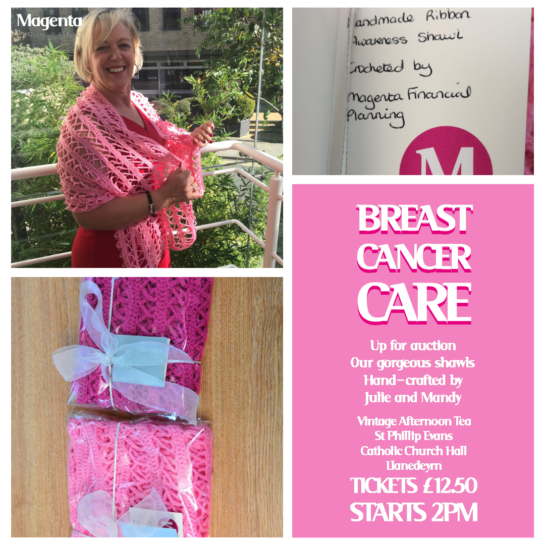breast cancer care pink shawl